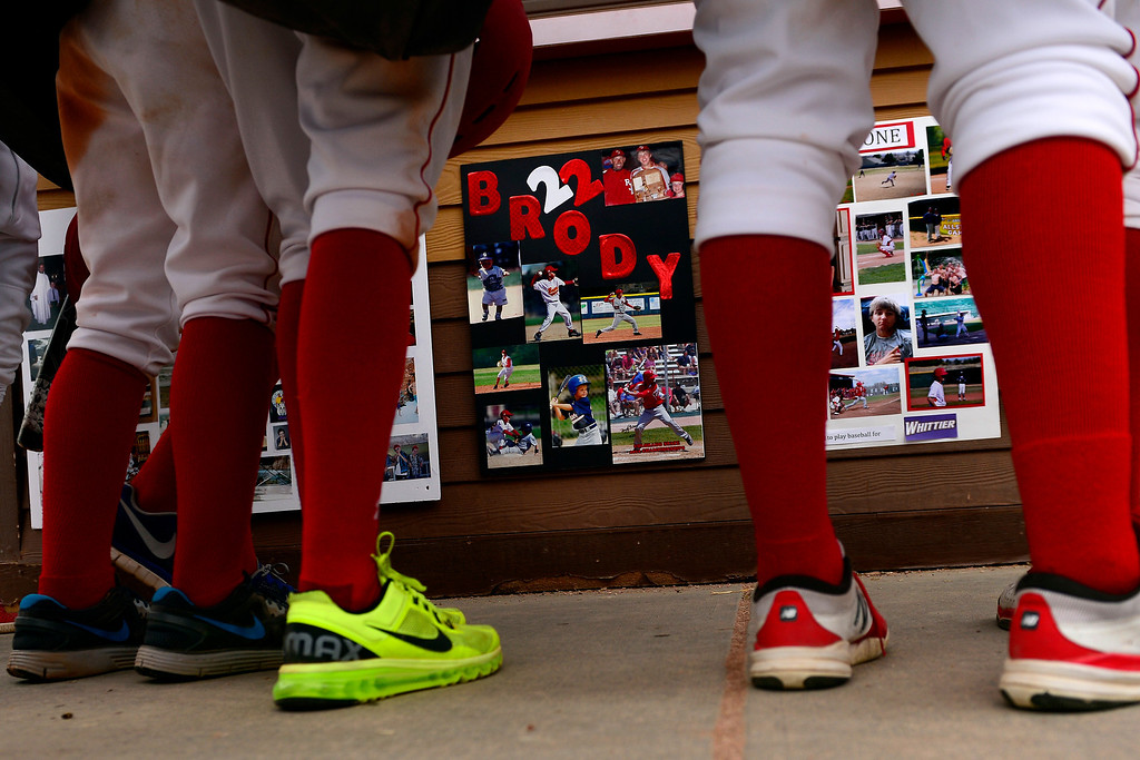 . PARKER, CO - APRIL 29: Regis Jesuit shortstop Brody Weiss\' poster board for senior day hangs on the concession stands during the team\'s final home game. Weiss is the son of Colorado Rockies manager Walt Weiss. (Photo by AAron Ontiveroz/The Denver Post)
