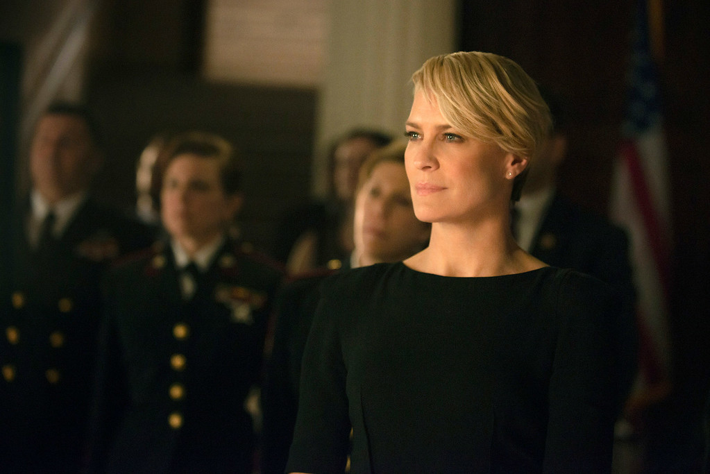 ". This image released by Netflix shows Robin Wright as Clair Underwood in a scene from ""House of Cards.\"" TWright was nominated for an Emmy Award for best actress in a drama series on Thursday July 10, 2014. The 66th Primetime Emmy Awards will be presented Aug. 25 at the Nokia Theatre in Los Angeles. (AP Photo/Netflix, Nathaniel E. Bell)"