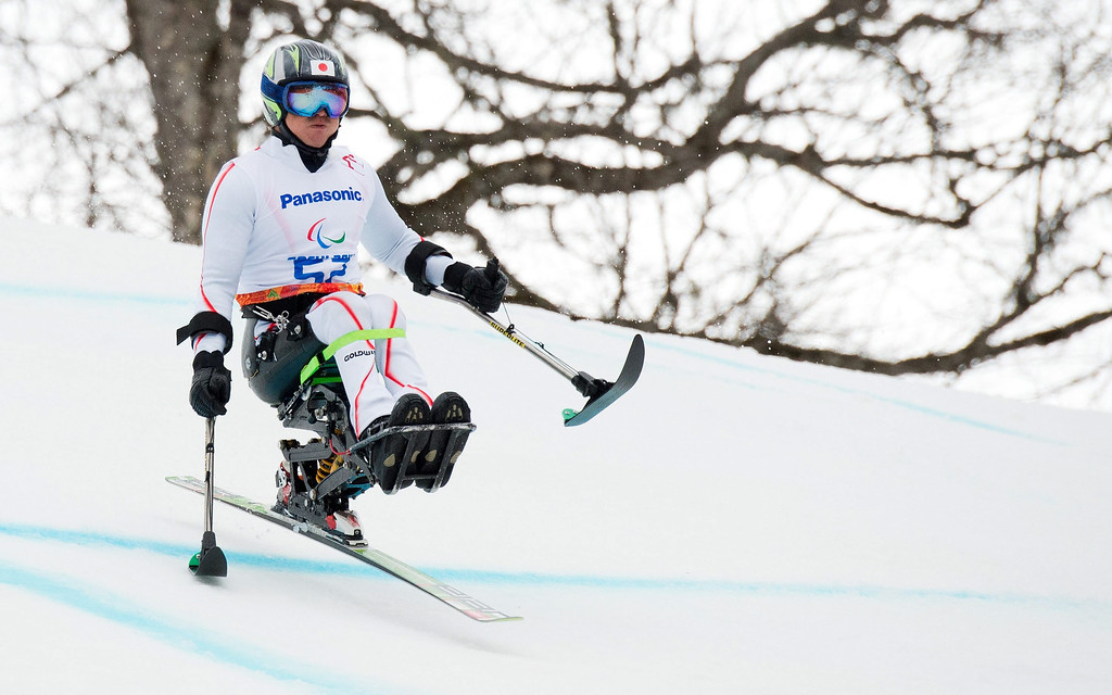 . Taiki Morii of Japan competes in the men\'s Super-G sitting race at the Winter Paralympics 2014 Sochi in Krasnaya Polyana, Russia.  EPA/Julian Stratenschulte