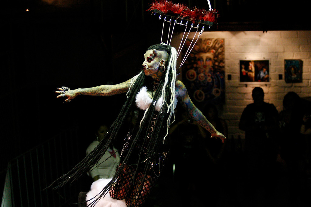 ". Mexican tattoo and body modification artist Maria Jose Cristerna, also known as ""Mujer Vampiro\"" (Vampire Woman), performs during an exhibition in Guadalajara, April 23, 2011. REUTERS/Alejandro Acosta ("