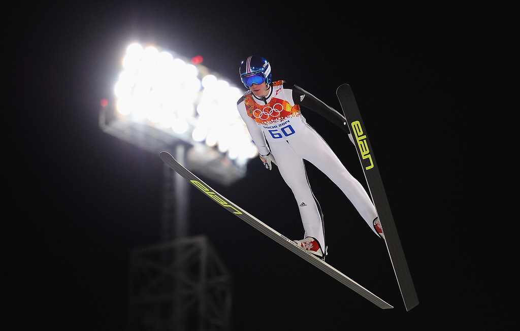 . SOCHI, RUSSIA - FEBRUARY 08: Peter Prevc of Slovenia jumps during the Men\'s Normal Hill Individual Qualification on day 1 of the Sochi 2014 Winter Olympics at the RusSki Gorki Ski Jumping Center on February 8, 2014 in Sochi, Russia.  (Photo by Lars Baron/Getty Images)