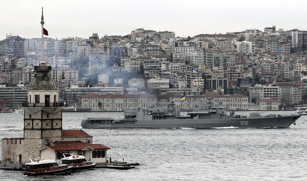 . The Ukrainian Hetman Sahaidachny U130 warship passes the Bosphorus Strait in Istanbul, Turkey, 04 March 2014. Russian President Vladimir Putin met with journalists at his Novo-Ogaryovo residence outside Moscow to explain his position on the Ukrainian events, saying that he sees no need to send Russian troops to Ukraine now, calling it a \'last resort.\' The Russian army reportedly had occupied key sites in the autonomous region of Crimea, where a majority of the population is ethnic Russian two days earlier. Troops surrounded several small military outposts and demanded Ukrainian troops disarm.  EPA/SEDAT SUNA