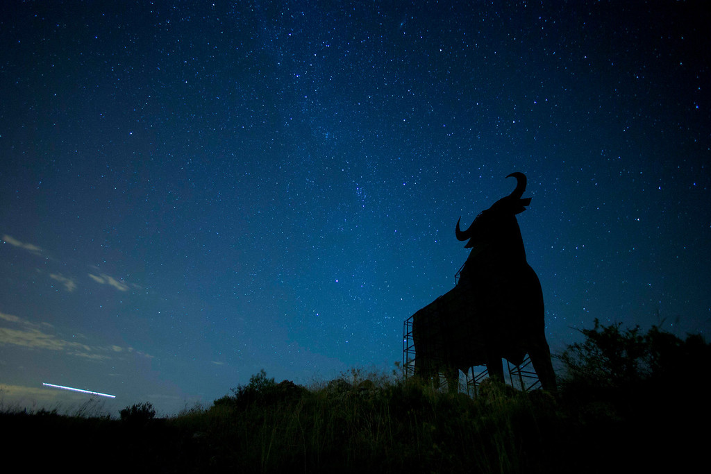 . A Perseid meteor streaks across the sky during the annual Perseid meteor shower behind a roadside silhouette of a Spanish fighting bull, conceived decades ago in Spain as highway billboards, in Villarejo de Salvanes, central Spain in the early hours of Monday Aug. 12, 2013. (AP Photo/Paul White)