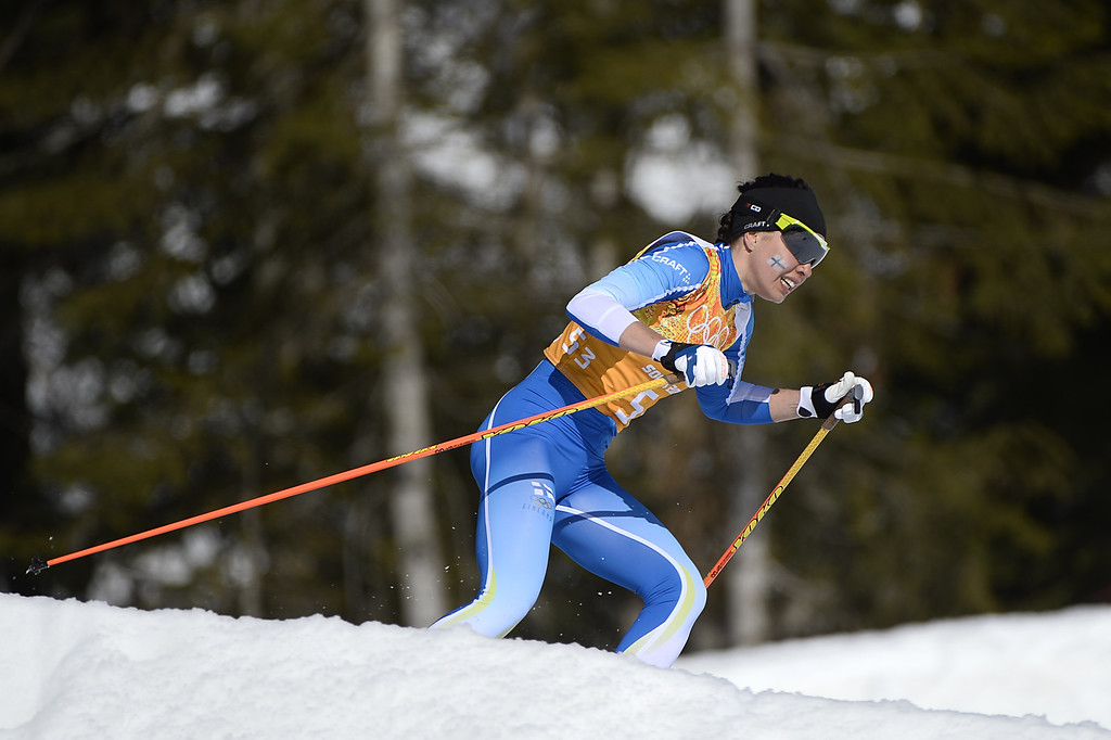 . Finland\'s Kerttu Niskanen competes in the Women\'s Cross-Country Skiing 4x5km Relay at the Laura Cross-Country Ski and Biathlon Center during the Sochi Winter Olympics on February 15, 2014, in Rosa Khutor, near Sochi. PIERRE-PHILIPPE MARCOU/AFP/Getty Images