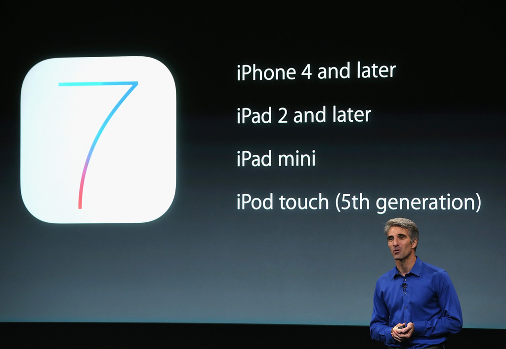 . Apple Senior Vice President of Software Engineering Craig Federighi speaks about iOS 7 on stage during an Apple product announcement at the Apple campus on September 10, 2013 in Cupertino, California.   (Photo by Justin Sullivan/Getty Images)