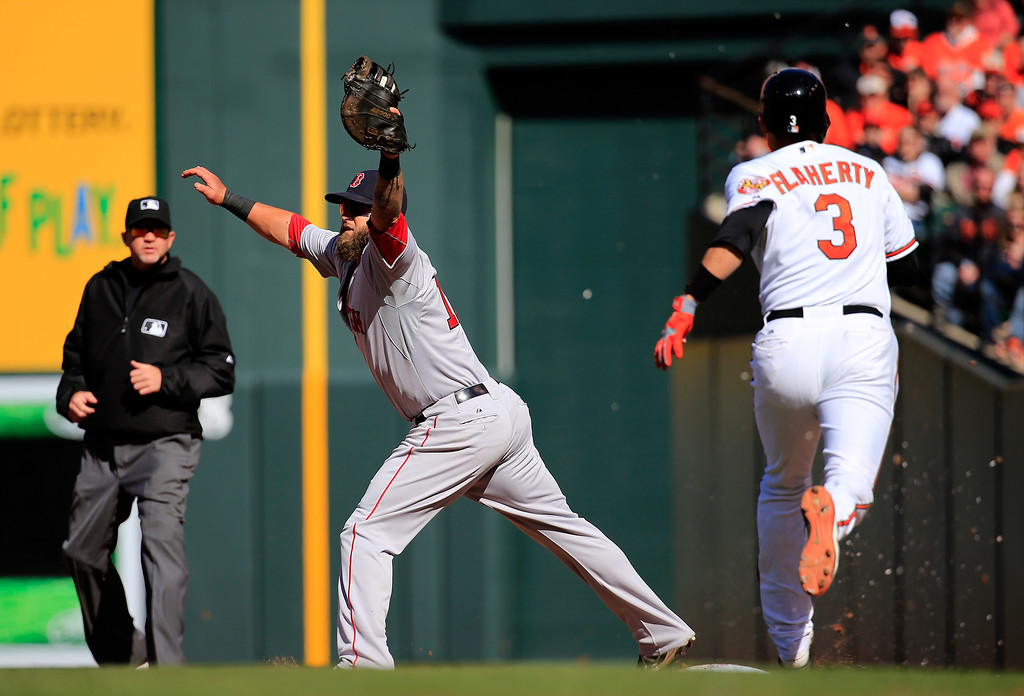 . Mike Napoli #12 of the Boston Red Sox catches the ball to force out Ryan Flaherty #3 of the Baltimore Orioles for the third out of the second inning during Opening Day at Oriole Park at Camden Yards on March 31, 2014 in Baltimore, Maryland. At left is umpire Ron Kulpa. (Photo by Rob Carr/Getty Images)