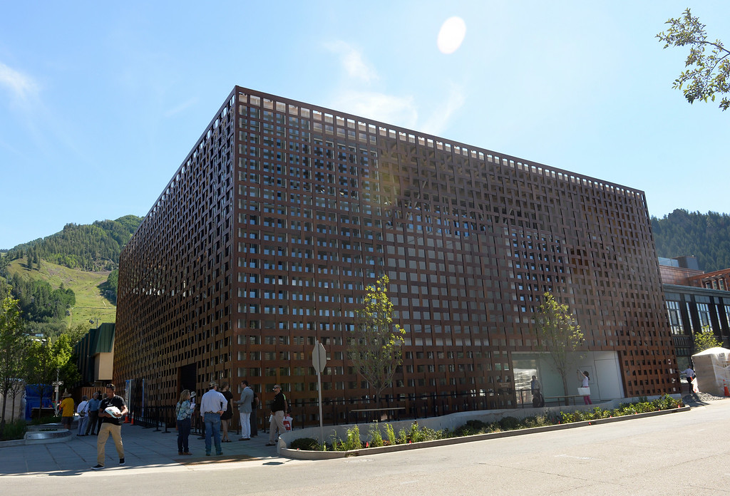 . The Aspen Art Museum celebrates its grand opening to the public on Saturday, Aug. 2, 2014. The architect on the project, Shigeru Ban, was there for the celebration which included an official ribbon cutting and fireworks. (Photo by Kathryn Scott Osler/The Denver Post)