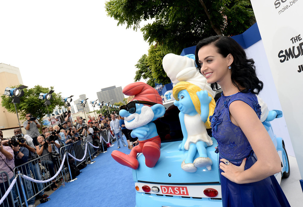 """. Actress/singer Katy Perry attends the Los Angeles premiere of \""""The Smurfs 2\"""" at Regency Village Theatre on July 28, 2013 in Westwood, California.  (Photo by Michael Buckner/Getty Images for SONY)"""