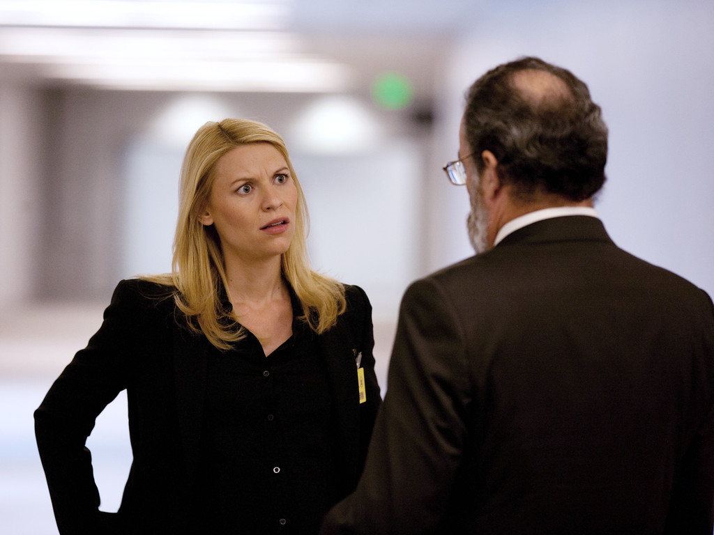 ". This publicity image released by Showtime shows Claire Danes in ""Homeland.\""  Danes was nominated for an Emmy Award for best actress in a drama series on, Thursday July 10, 2014. The 66th Primetime Emmy Awards will be presented Aug. 25 at the Nokia Theatre in Los Angeles. (AP Photo/Showtime, Kent Smith)"