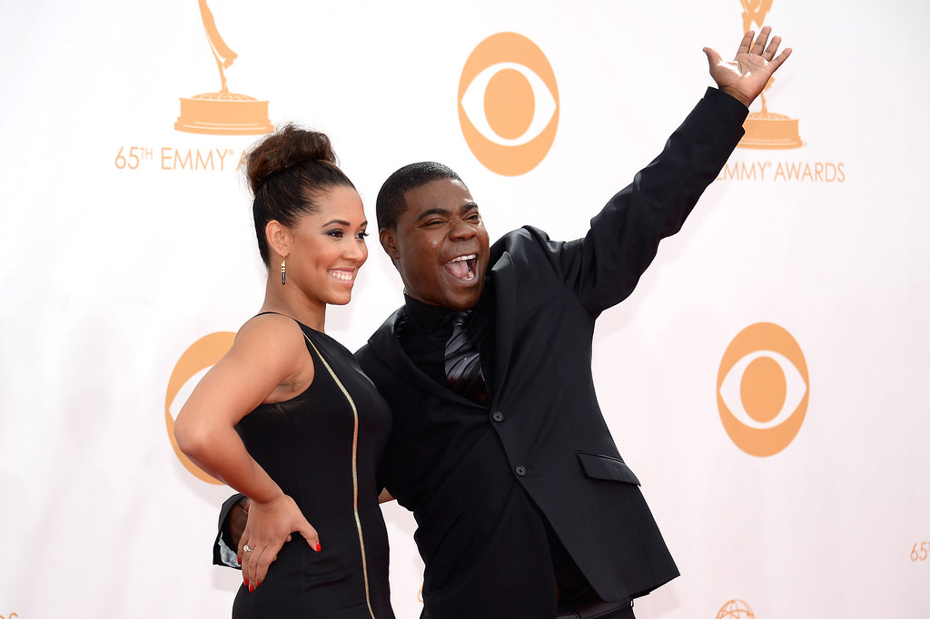 . Actor Tracy Morgan ( R) arrives at the 65th Annual Primetime Emmy Awards held at Nokia Theatre L.A. Live on September 22, 2013 in Los Angeles, California.  (Photo by Kevork Djansezian/Getty Images)