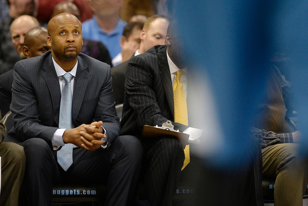 . Brian Shaw of the Denver Nuggets watches the action against the Minnesota Timberwolves during the second quarter at the Pepsi Center.  (Photo By AAron Ontiveroz/The Denver Post)
