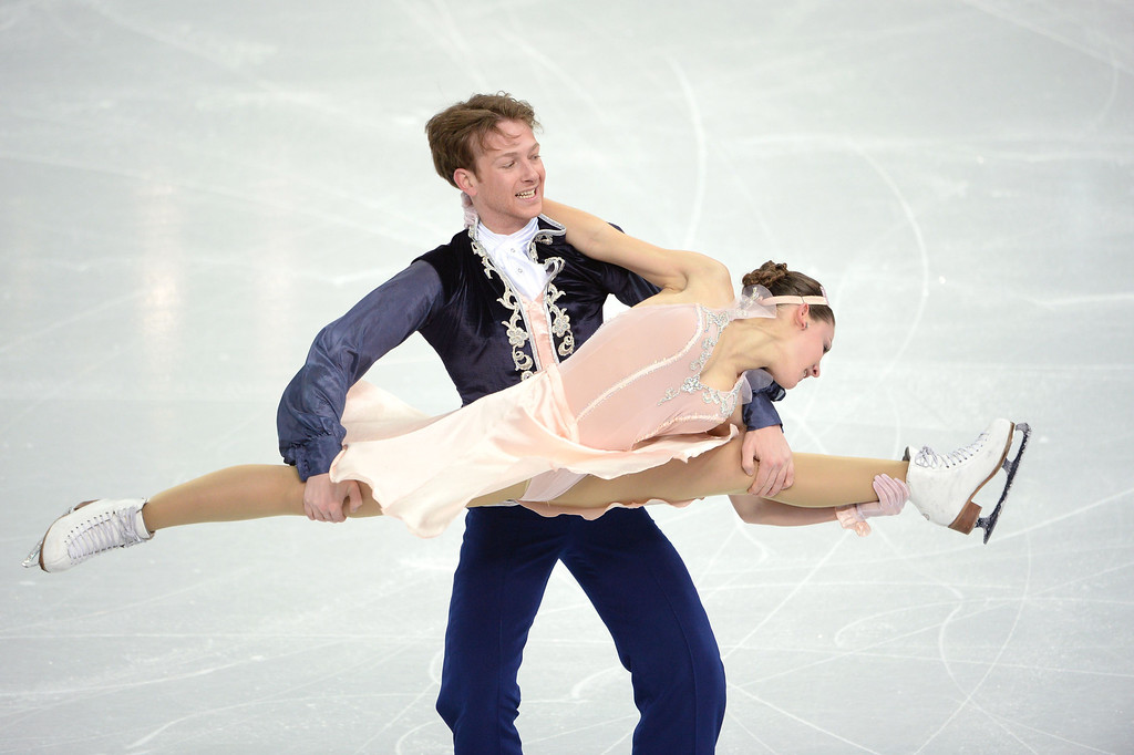 . Germany\'s Tanja Kolbe and Germany\'s Stefano Caruso compete in the Figure Skating Ice Dance Free Dance at the Iceberg Skating Palace during the Sochi Winter Olympics on February 17, 2014.  JUNG YEON-JE/AFP/Getty Images