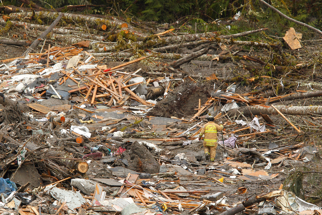 . A searcher walks through a massive pile of debris at the scene of a deadly mudslide, Thursday, March 27, 2014, in Oso, Wash.  (AP Photo/The Herald, Mark Mulligan, Pool)