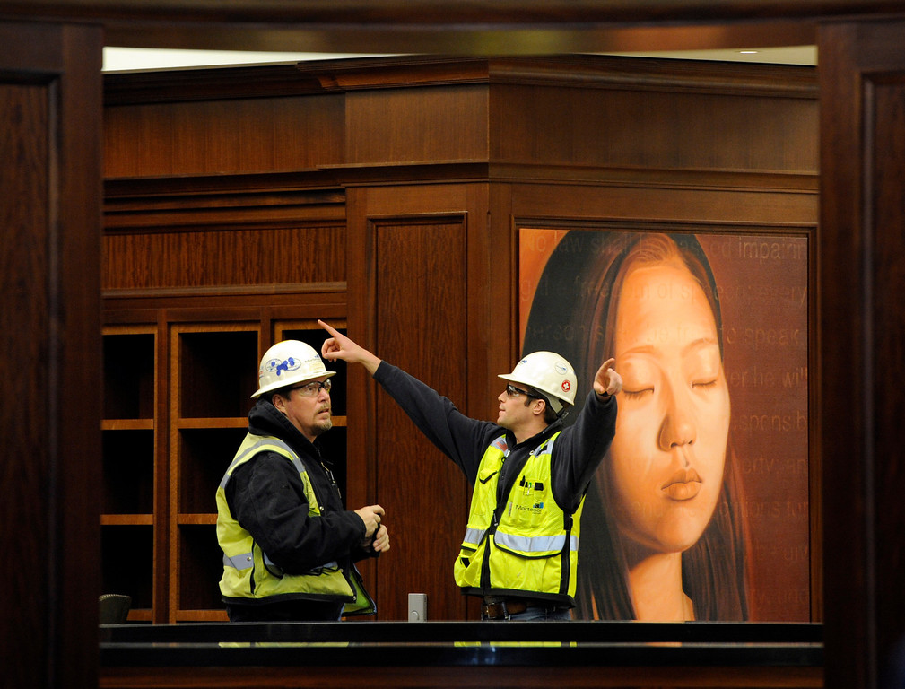 . Public art can be found throughout the courthouse building including inside the law library. Construction crews put the finishing touches on the new Ralph L. Carr Colorado Judicial Center at 2 East 14th Avenue in Denver on Tuesday, Dec. 11, 2012. The courts will officially open at this location at 8 a.m. on Wed. Dec. 19, 2012. Kathryn Scott Osler, The Denver Post