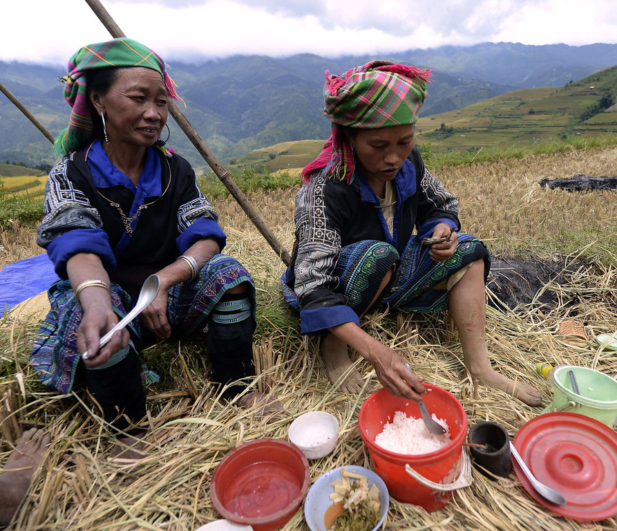 . This picture taken on October 1, 2013 shows Hmong hilltribe women having lunch as they harvest rice on terrace rice fields in Mu Cang Chai district, in the northern mountainous province of Yen Bai. The local residents, mostly from the Hmong hill tribe, grow rice in the picturesque terrace fields whose age is estimated to hundreds years. Due to hard farming conditions, especially irrigation works, locals produce only one rice crop per year. In recent years a growing numbers of tourists have been attracted by the beautiful landscapes created by the region\'s rice terrace fields.  HOANG DINH NAM/AFP/Getty Images