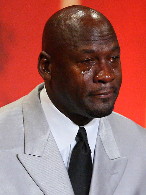 . Former Chicago Bulls and Washington Wizards guard Michael Jordan cries as he takes the podium during his enshrinement ceremony into the Naismith Basketball Hall of Fame in Springfield, Mass., Friday, Sept. 11, 2009. (AP Photo/Stephan Savoia)