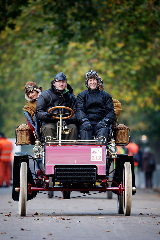 . Participants head to the start of the Royal Automobile Club\'s annual Veteran Car Run in Hyde Park on November 3, 2013 in London, England. Around 500 eligible pre-1905 cars take part in The Royal Automobile Club\'s annual 60-mile drive from Hyde Park in central London to the seafront on the Sussex resort of Brighton. It is the longest running motoring event in the world, and attracts entrants from across the globe.  (Photo by Matthew Lloyd/Getty Images)