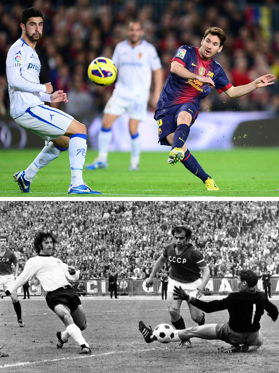 . This combo of two file photographs shows at top; FC Barcelona\'s Lionel Messi, from Argentina, scoring his second goal against Zaragoza during a Spanish La Liga soccer match at the Camp Nou stadium in Barcelona, Spain, in a Nov. 17, 2012 file photo, and at bottom; a June 18, 1972 file photo of Gerd Mueller, left, of West Germany, scoring a goal against the Soviet Union in the Heysel Stadium, in Brussels. Messi scored his 85th goal during the Spanish league game with Betis on Sunday, Dec. 9, 2012, matching the current record of most goals scored within one calendar year, previously held by former German striker Gerd Mueller. (AP Photos, Files)