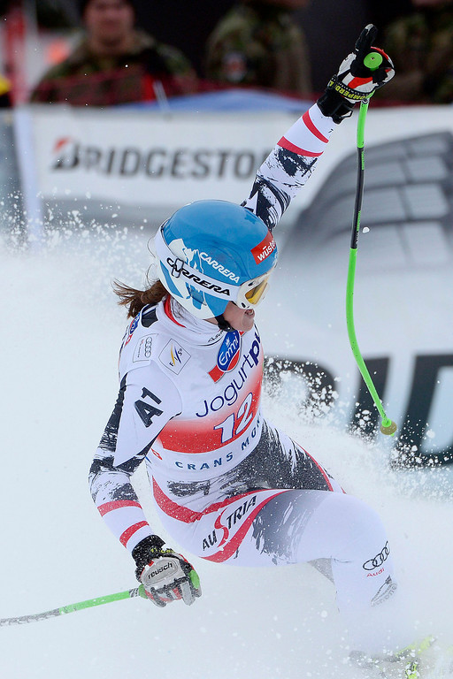 . Elisabeth Goergl of Austria reacts in the finish area during the Women\'s Downhill race of the FIS Alpine Skiing World Cup  in Crans-Montana, Switzerland.  EPA/ALESSANDRO DELLA VALLE