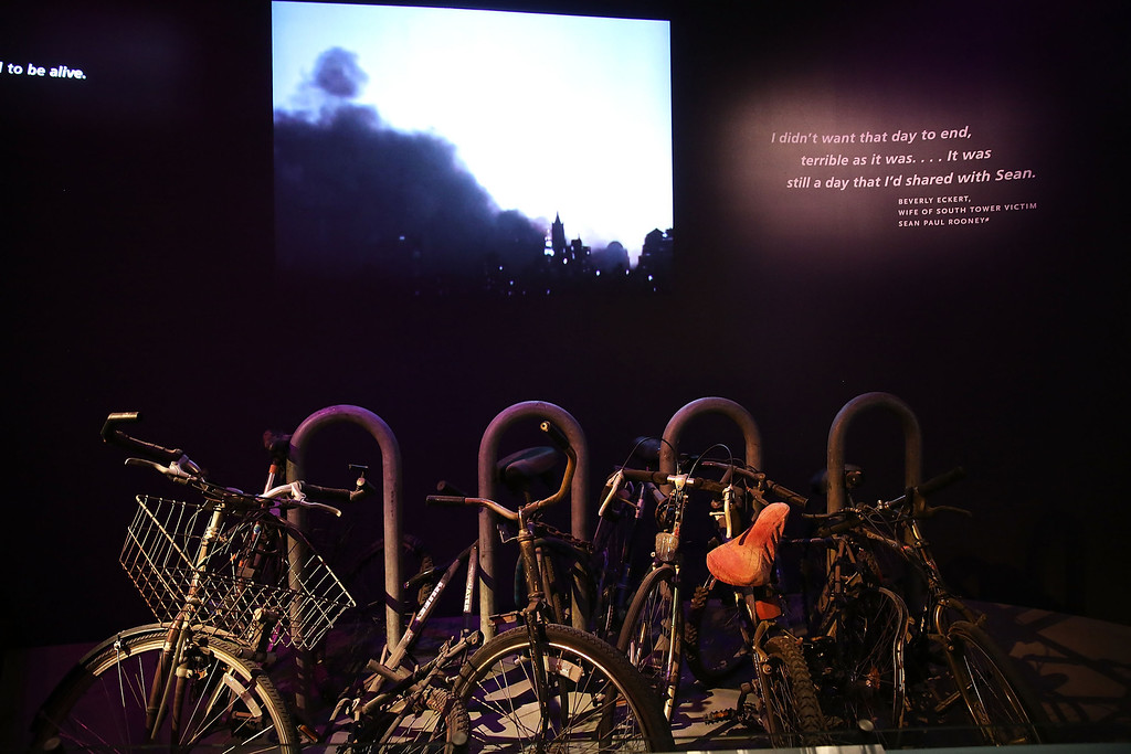 . A salvaged bicycle rack from Ground Zero is viewed during a preview of the National September 11 Memorial Museum on May 14, 2014 in New York City.  (Photo by Spencer Platt/Getty Images)