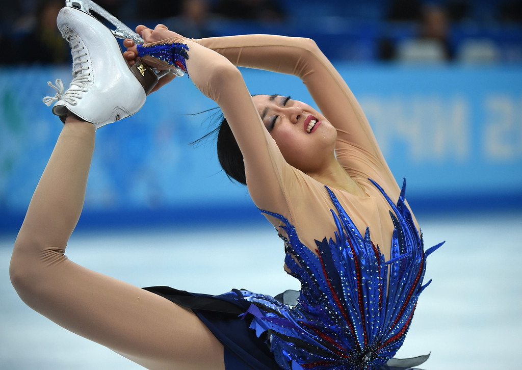 . Japan\'s Mao Asada performs in the Women\'s Figure Skating Free Program at the Iceberg Skating Palace during the Sochi Winter Olympics on February 20, 2014. DAMIEN MEYER/AFP/Getty Images
