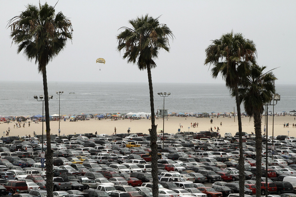 . A parking lot at Santa Monica Beach is filled to capacity  in Santa Monica, California, June 30, 2011, amid the heat wave gripping the southwest US.     JONATHAN ALCORN/AFP/Getty Images