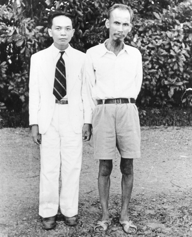 . In this 1950 file photo, Ho Chi Minh, right, who became president of North Vietnam, poses with Vo Nguyen Giap, minister of Interior in Ho Chi Minh\'s provisional government in Vietnam. Officials said legendary Giap, the military mastermind who drove the French and the Americans out of Vietnam, has died on Friday in hospital in Hanoi where he had been since 2009. He was 102. (AP Photo, File)