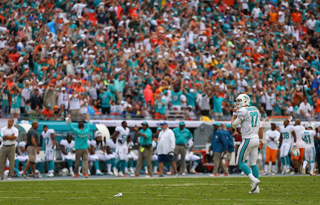 . Ryan Tannehill #17 of the Miami Dolphins celebrates a touchdown during a game against the New York Jets at Sun Life Stadium on December 29, 2013 in Miami Gardens, Florida.  (Photo by Mike Ehrmann/Getty Images)