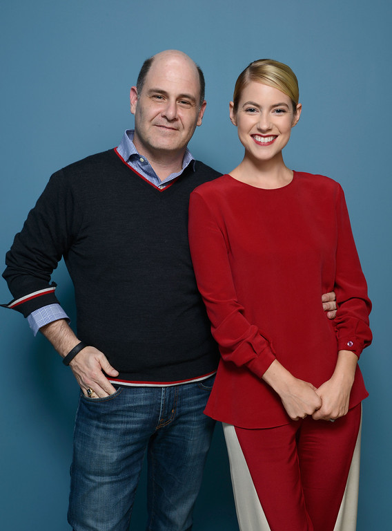 . Director Matthew Weiner and actress Laura Ramsey of \'You Are Here\' pose at the Guess Portrait Studio during 2013 Toronto International Film Festival on September 8, 2013 in Toronto, Canada.  (Photo by Larry Busacca/Getty Images)