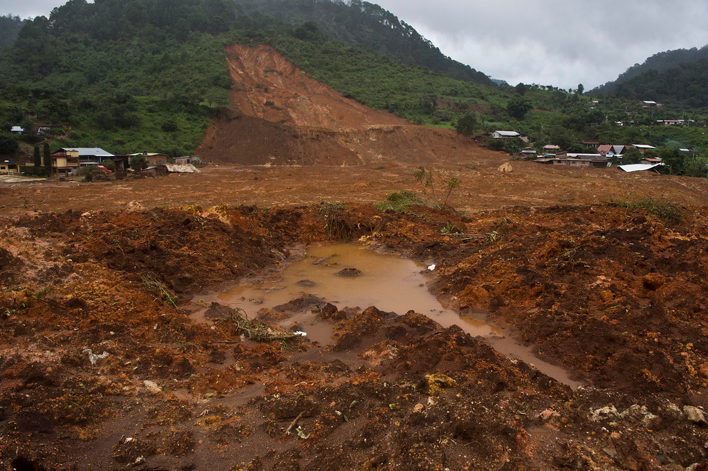 . Panoramic view of the site of a landslide in La Pintada, state of Guerrero, Mexico, on September 19, 2013 as heavy rains hit the country.  AFP PHOTO/RONALDO Schemidt/AFP/Getty Images