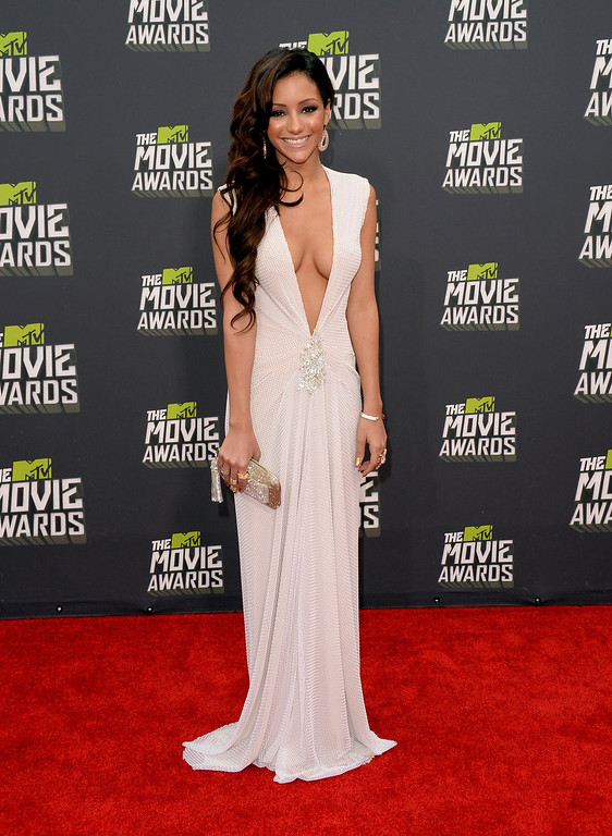 . TV personality Melanie Iglesias arrives at the 2013 MTV Movie Awards at Sony Pictures Studios on April 14, 2013 in Culver City, California.  (Photo by Jason Merritt/Getty Images)