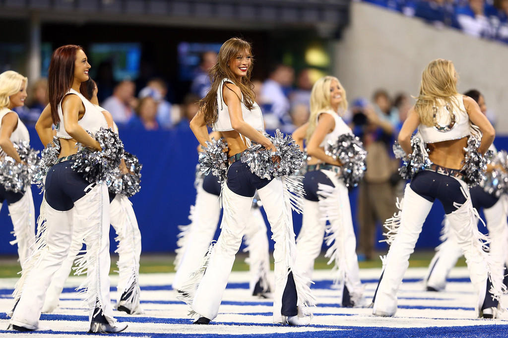 . Indianapolis Colts cheerleaders perform during the game against the St. Louis Rams at Lucas Oil Stadium on November 10, 2013 in Indianapolis, Indiana.  (Photo by Andy Lyons/Getty Images)