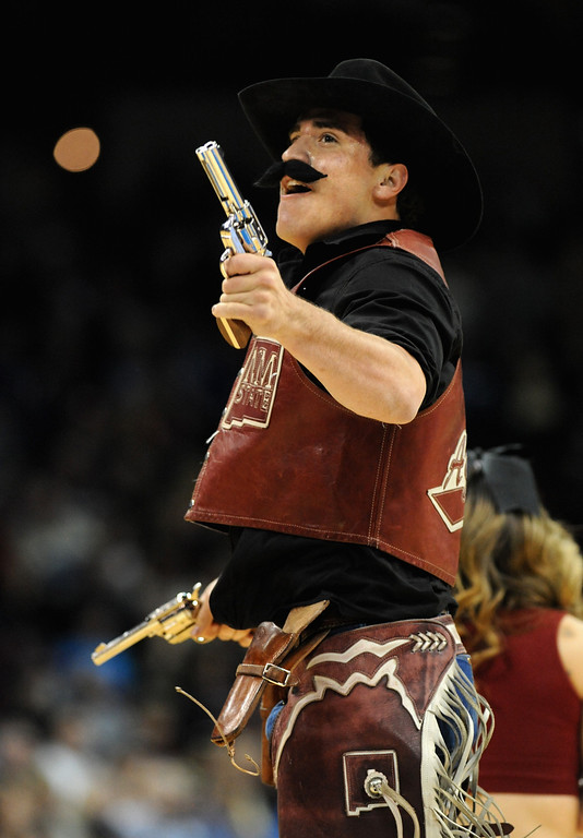 . SPOKANE, WA - MARCH 20:  The New Mexico State Aggies mascot performs during the second round of the 2014 NCAA Men\'s Basketball Tournament against the San Diego State Aztecs at Spokane Veterans Memorial Arena on March 20, 2014 in Spokane, Washington.  (Photo by Steve Dykes/Getty Images)