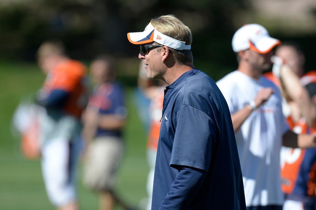 . Denver Broncos defensive coordinator Jack Del Rio before practice October 2, 2013 at Dove Valley. (Photo by John Leyba/The Denver Post)