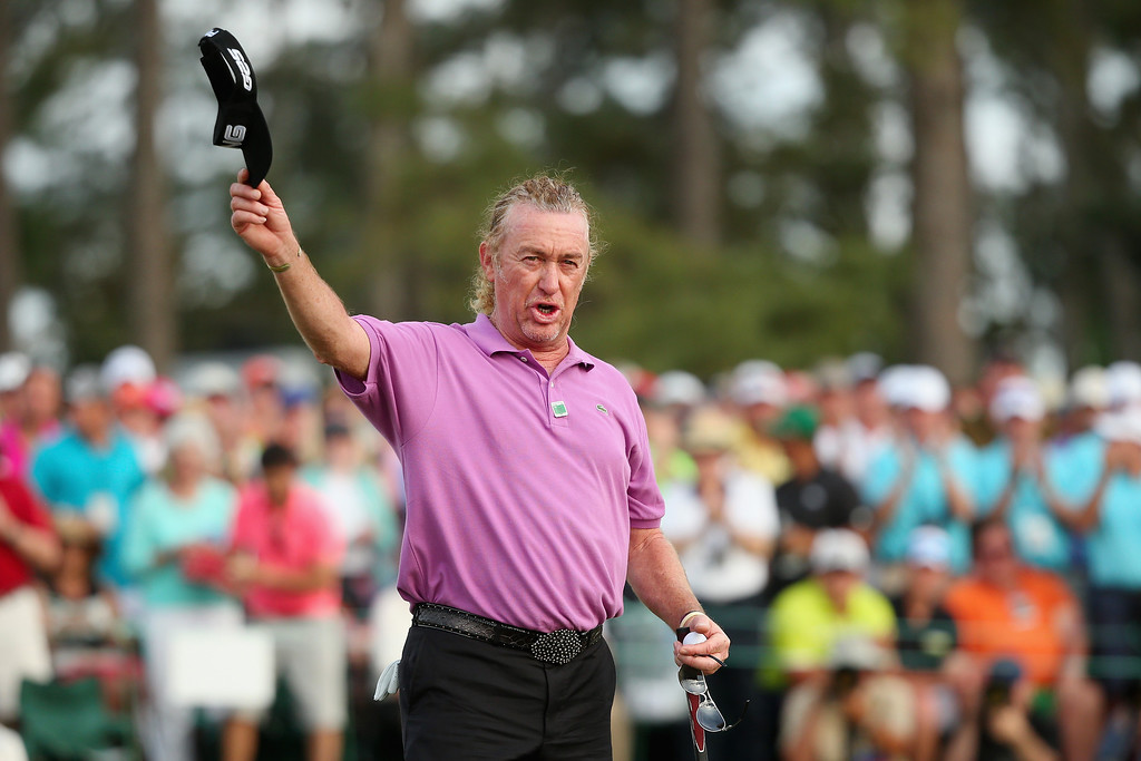 . Miguel Angel Jimenez of Spain waves to the gallery on the 18th green during the final round of the 2014 Masters Tournament at Augusta National Golf Club on April 13, 2014 in Augusta, Georgia.  (Photo by Andrew Redington/Getty Images)
