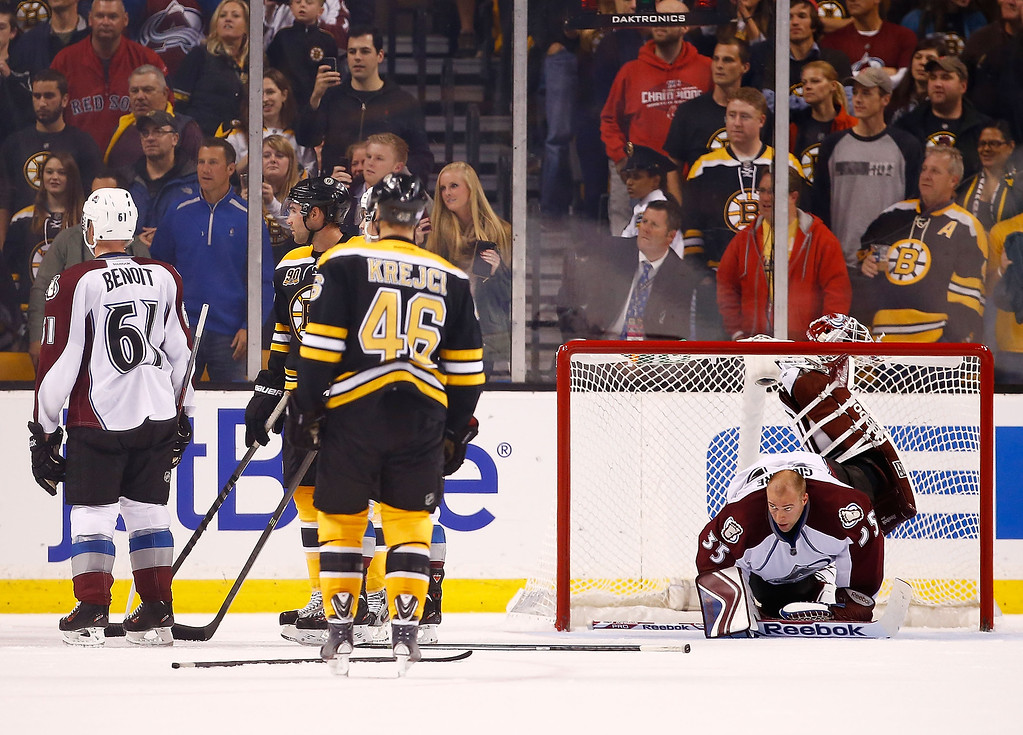 . Jean-Sebastien Giguere #35 of the Colorado Avalanche stretches during a stoppage of play due to a scuffle in the second period against the Boston Bruins during the game on October 10, 2013 at TD Garden in Boston, Massachusetts. (Photo by Jared Wickerham/Getty Images)
