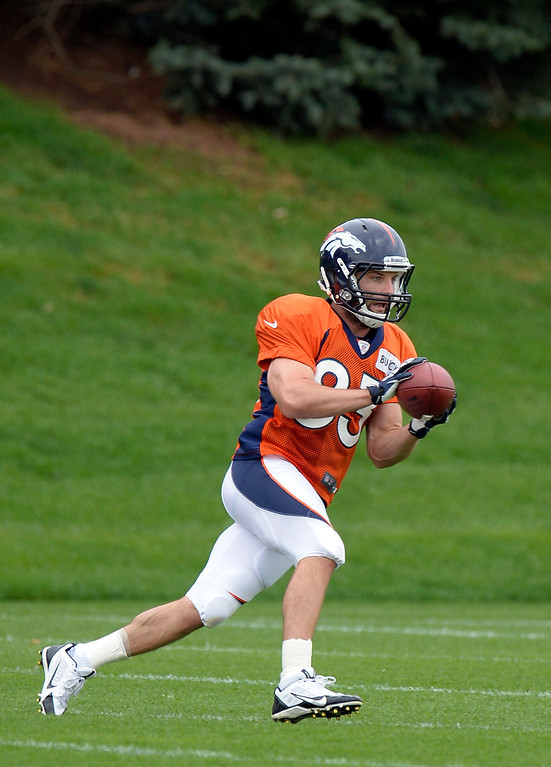 . Denver Broncos wide receiver Wes Welker (83) catches a pass during practice September 1, 2013 at Dove Valley. (Photo by John Leyba/The Denver Post)