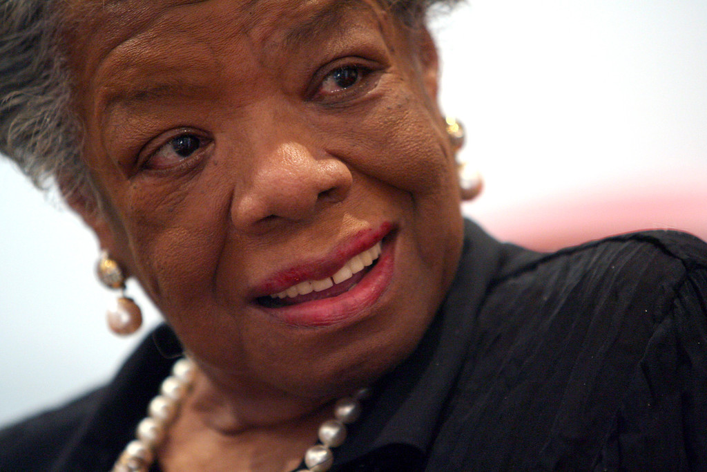 . In this March 4, 2008 file photo, American poet and noevlist Maya Angelou smiles during an interview with The Associated Press in New York. Angelou has died, Wake Forest University said Wednesday, May 28, 2014.  She was 86. (AP Photo/Mary Altaffer, File)