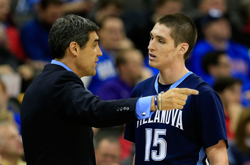 . KANSAS CITY, MO - MARCH 22:  Head coach Jay Wright of the Villanova Wildcats talks with Ryan Arcidiacono #15 in the second half against the North Carolina Tar Heels during the second round of the 2013 NCAA Men\'s Basketball Tournament at the Sprint Center on March 22, 2013 in Kansas City, Missouri.  (Photo by Jamie Squire/Getty Images)