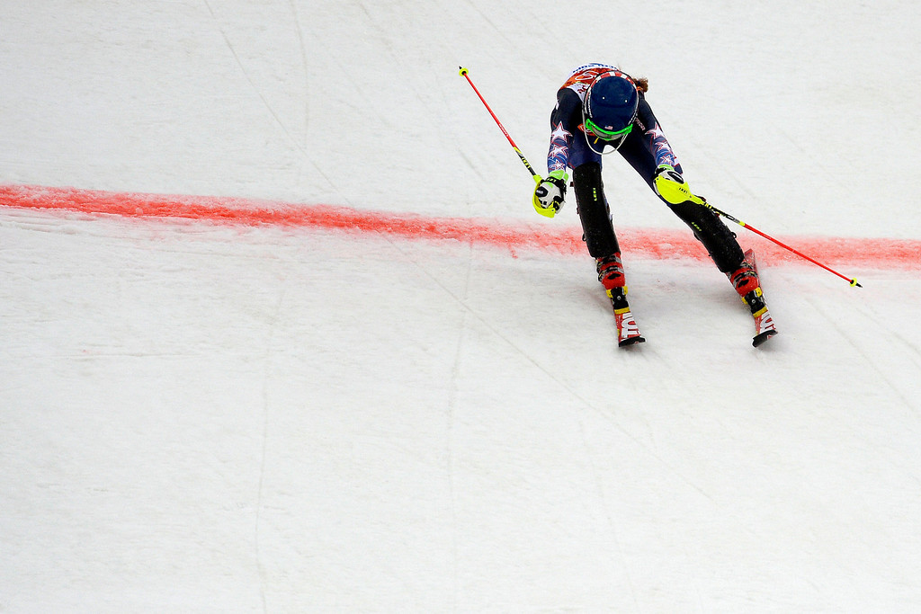 . KRASNAYA POLYANA, RUSSIA - FEBRUARY 20: American Mikaela Shriffin finishes during ladies\' giant slalom run 1. Sochi 2014 Winter Olympics on Friday, February 21, 2014 at Rosa Khutor Alpine Center. (Photo by AAron Ontiveroz/ The Denver Post)
