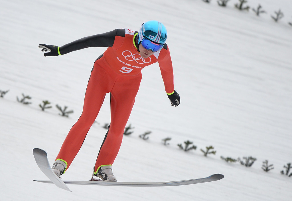 . Finland\'s Janne Ryynaenen competes in the Nordic Combined Individual NH / 10 km Ski Jumping official training at the RusSki Gorki Jumping Center during the Sochi Winter Olympics on February 17, 2014, in Rosa Khutor, near Sochi. AFP PHOTO / PETER  PARKS/AFP/Getty Images