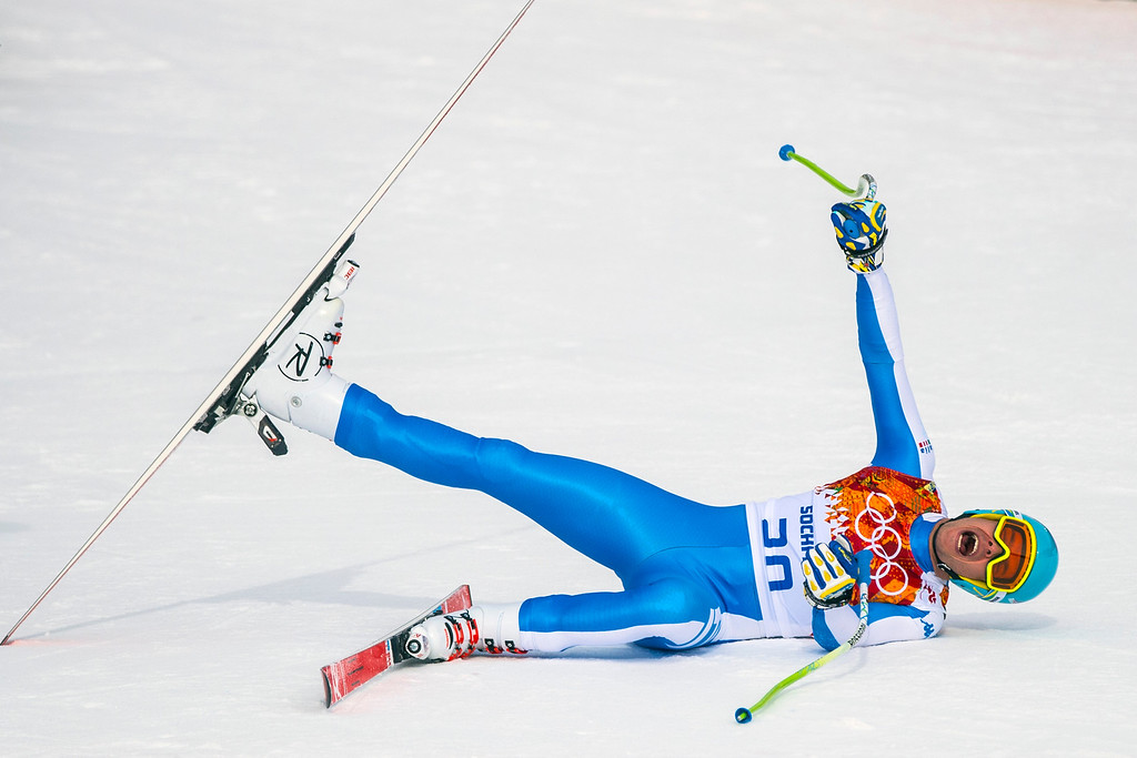. Italy\'s Christof Innerhofer reacts after competing in the Men\'s Downhill race at Rosa Khutor Alpine Center during the 2014 Sochi Olympic Games Sunday February 9, 2014. Innerhofer won the silver with a time of 2:06.29. (Photo by Chris Detrick/The Salt Lake Tribune)