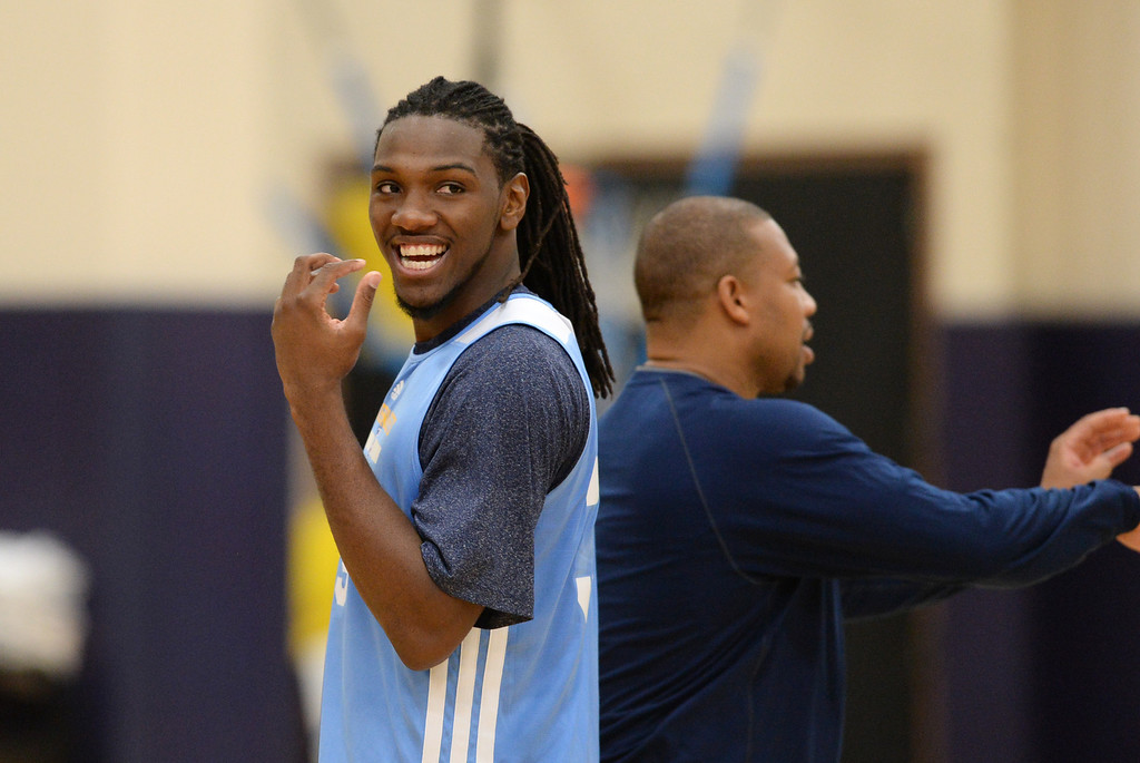 . Kenneth Faried of Denver Nuggets (35) in team practice at Pepsi Center. Denver, Colorado. October 2, 2013. (Photo by Hyoung Chang/The Denver Post)