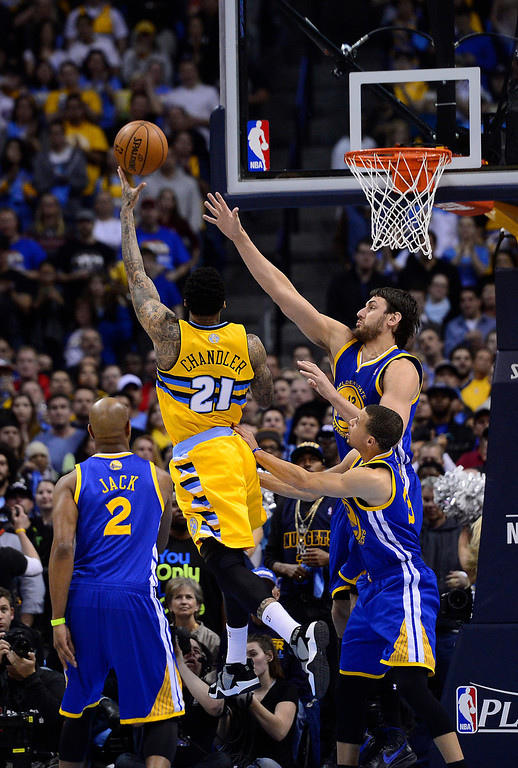 . DENVER, CO. - APRIL 23: Denver Nuggets shooting guard Wilson Chandler (21) puts up a shot in the first quarter. The Denver Nuggets took on the Golden State Warriors in Game 2 of the Western Conference First Round Series at the Pepsi Center in Denver, Colo. on April 23, 2013. (Photo by AAron Ontiveroz/The Denver Post)