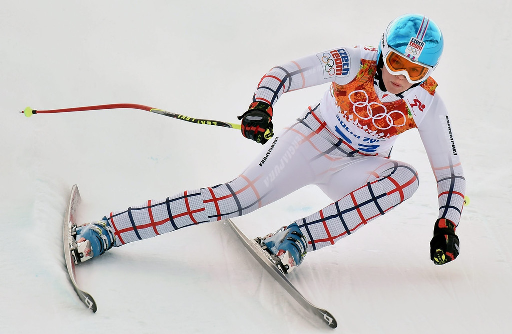 . Klara Krizova of the Czech Republic in action during the Downhill portion of the Women\'s Super Combined race at the Rosa Khutor Alpine Center during the Sochi 2014 Olympic Games, Krasnaya Polyana, Russia, 10 February 2014.  EPA/JUSTIN LANE
