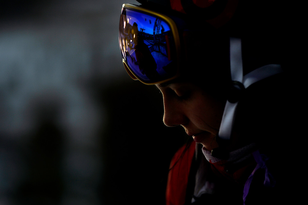 . Roz Groenewoud prepares for her run during the women\'s ski halfpipe final. X Games Aspen at Buttermilk on Friday, January 24, 2014. (Photo by AAron Ontiveroz/The Denver Post)