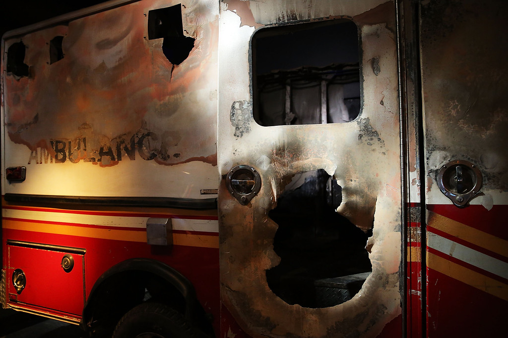 . A destroyed fire department ambulance from Ground Zero is viewed during a preview of the National September 11 Memorial Museum on May 14, 2014 in New York City.   (Photo by Spencer Platt/Getty Images)