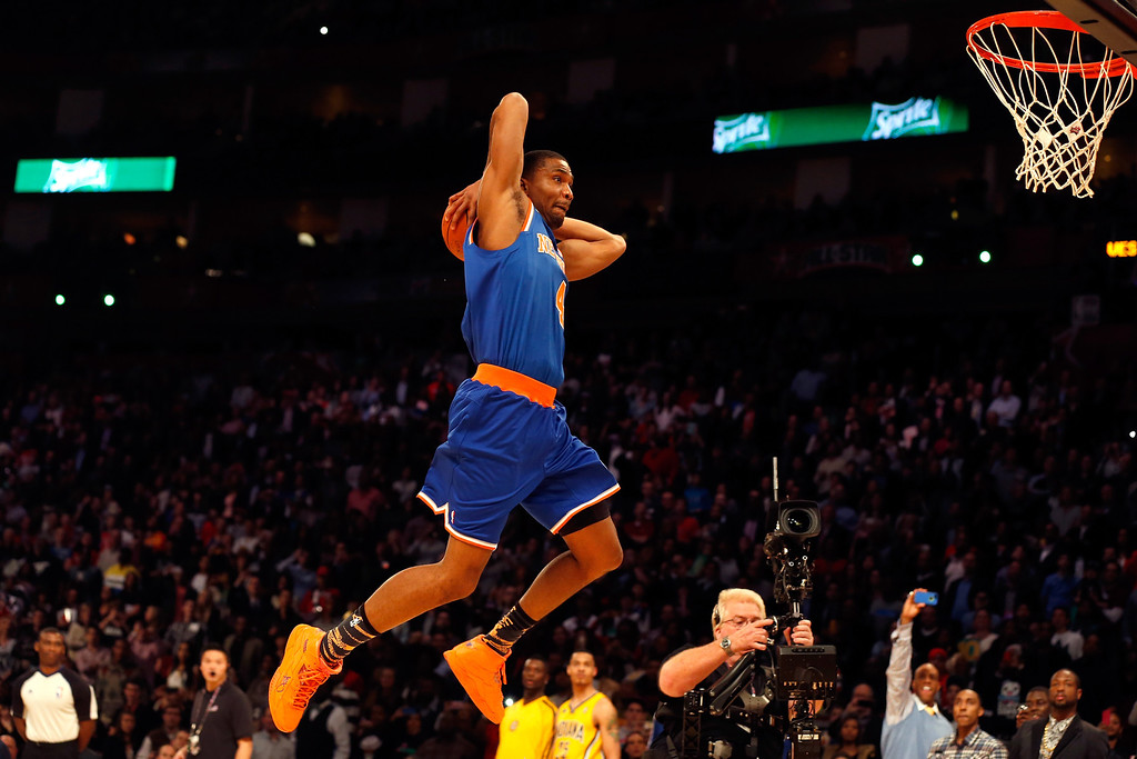 . HOUSTON, TX - FEBRUARY 16:  James White of the New York Knicks goes up for a dunk in the first round during the Sprite Slam Dunk Contest part of 2013 NBA All-Star Weekend at the Toyota Center on February 16, 2013 in Houston, Texas.  (Photo by Scott Halleran/Getty Images)