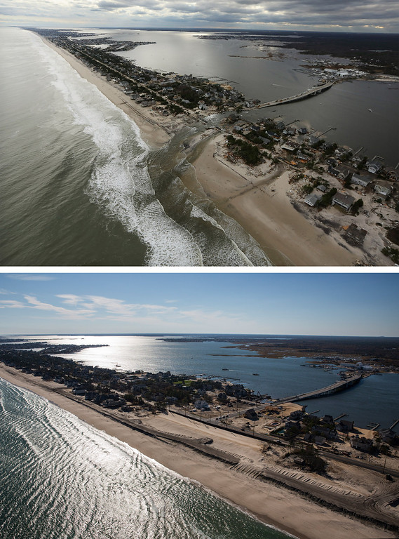 . MANTOLOKING, NJ - OCTOBER 31: (top)  Homes built near a bridge sit destroyed due to Superstorm Sandy in Mantoloking, New Jersey October 31, 2012.  (Photo by Mario Tama/Getty Images)   MANTOLOKING, NJ - OCTOBER 21: (bottom)  Mantoloking, New Jersey is shown in this aerial view October 21, 2013. Hurricane Sandy made landfall on October 29, 2012 near Brigantine, New Jersey and affected 24 states from Florida to Maine and cost the country an estimated $65 billion.   (Photo by Andrew Burton/Getty Images)