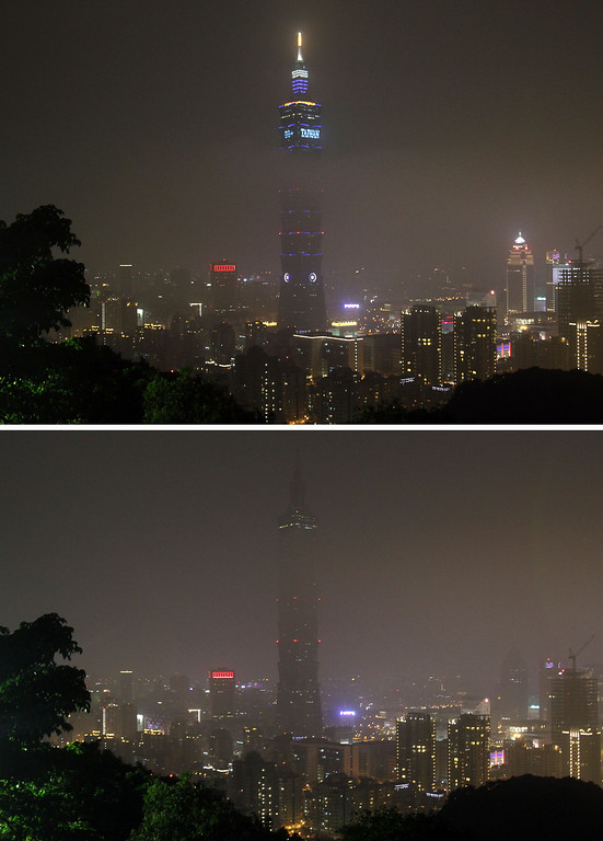 . These combo photos show the Taipei 101 Building before, up, and after, down, turning off its lights to mark the Earth Hour in Taipei, Taiwan, Saturday, March 23, 2013. Organised by the World Wide Fund for Nature, earth hour is observed every year to create awareness about conservation of energy and climate change. Around the world, people and organisations will be turning their lights off from 8:30 to 9:30 pm local time.(AP Photo/Chiang Ying-ying)